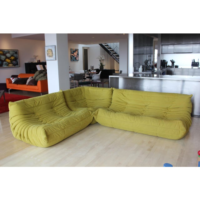 Late 20th Century Late 20th Century Ligne Roset 3-Piece Yellow Sofa For Sale - Image 5 of 5