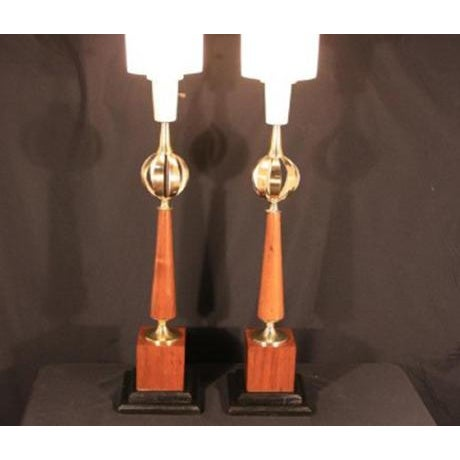 Up for sale is an Awesome Pair of Mid Century Modern 1950's-60's Lightolier Wood and Brass Orb table Lamps possibly...