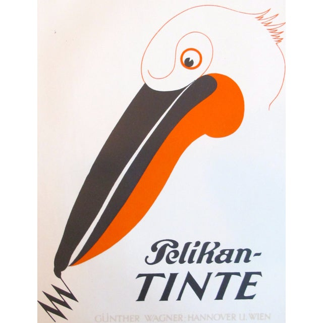 Original 1927 Lithographic Pelican Poster - Image 3 of 3