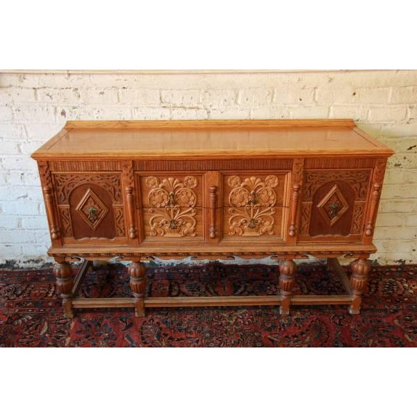 Antique Spanish Revival Oak Sideboard Buffet - Image 4 of 8