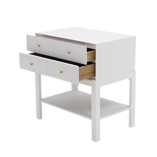 White Lacquer Diamond Shape Brass Pulls Two-Drawer Nightstand For Sale