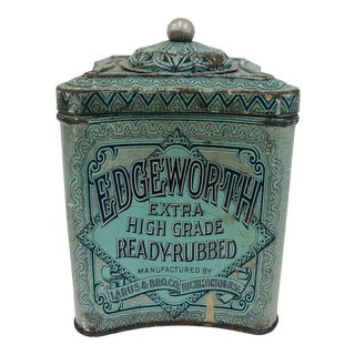 Antique Metal Storage Tin For Sale