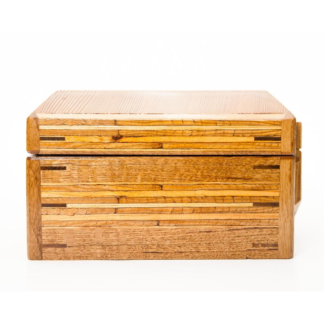 Scandinavian Lawrence & Scott Reclaimed Wood One-Of-A-Kind Lined Jewelry Box For Sale - Image 11 of 12