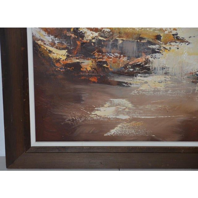 """Abstract Don Clausen """"Warm Winter Sky"""" Abstract Landscape Oil Painting C.1963 For Sale - Image 3 of 11"""