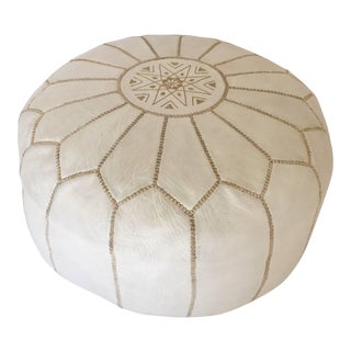 Moroccan Hand Tooled Leather Pouf in White Color