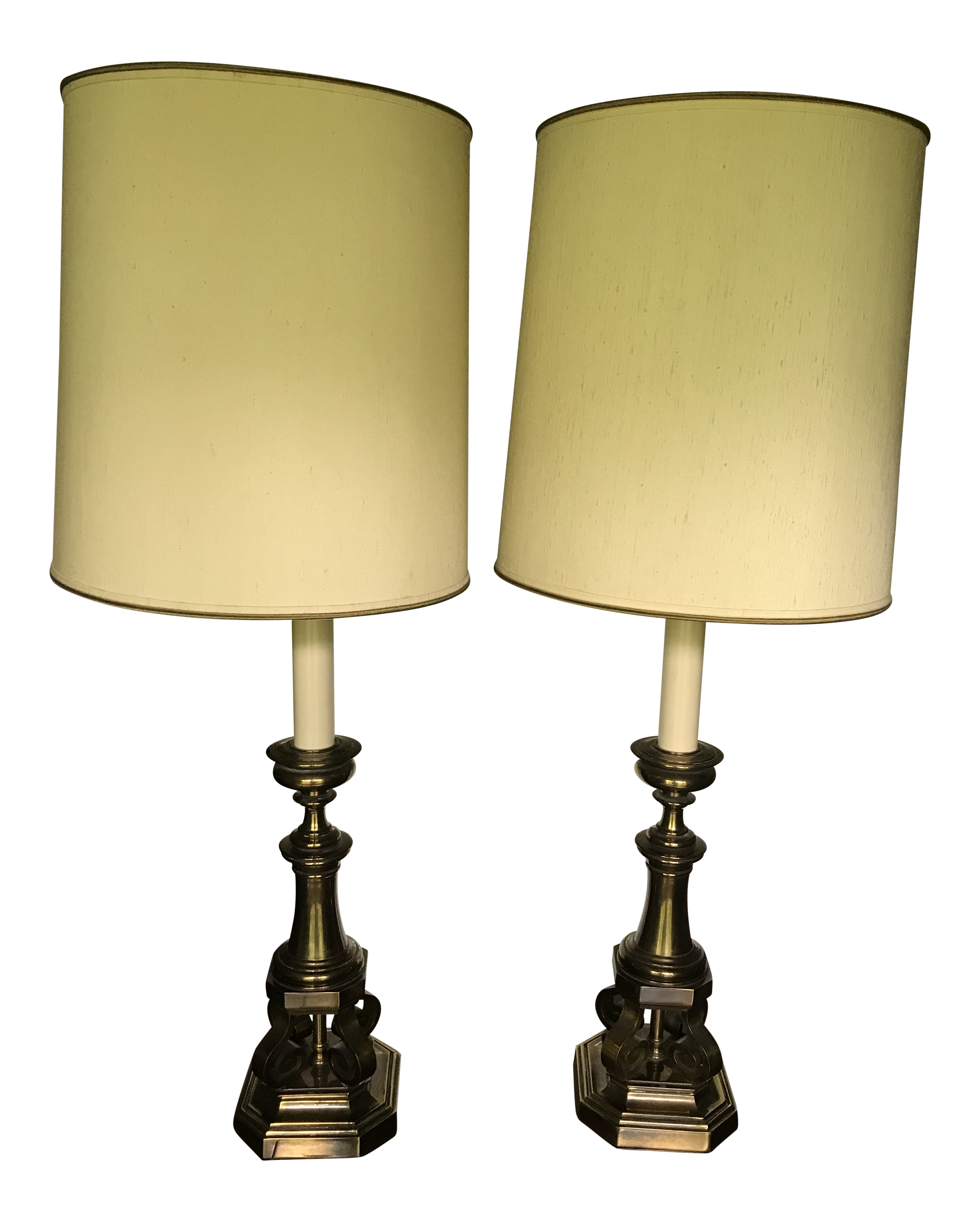 1950s Vintage Mid Century Modern Brass Table Lamp With Cream Shades