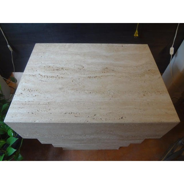 1970s Italian Stepped Travertine Pedestal or Table Base For Sale - Image 5 of 10