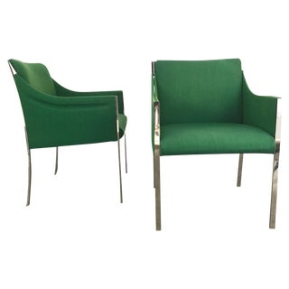1960s Vintage Jens Risom Chromed Steel and Wool Lounge Chairs - A Pair For Sale