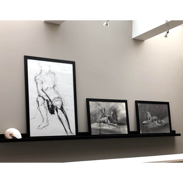 """2010s Contemporary Figure Drawing in Charcoal and Ink - """"Idle, Crossed Feet"""", by Artist David O. Smith For Sale - Image 5 of 12"""