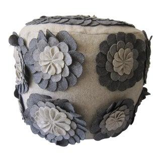 Vintage Applique Flower Ottoman For Sale