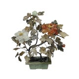 Image of Antique Jade and Agate Chrysanthemum Tree, Chinese Circa 1920 For Sale