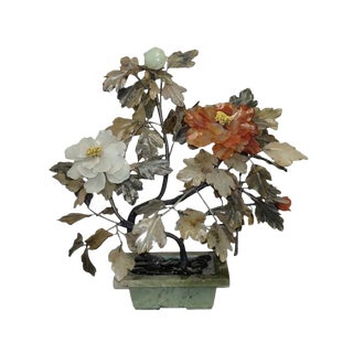 Antique Jade and Agate Chrysanthemum Tree, Chinese Circa 1920 For Sale