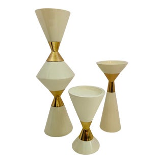 Hourglass Double Cone Candleholders by DwellStudio - Set of 3 For Sale