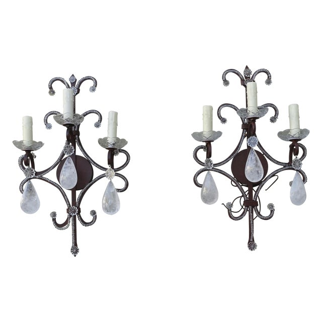 Wrought Iron Rock Crystal Sconces - Pair - Image 1 of 6