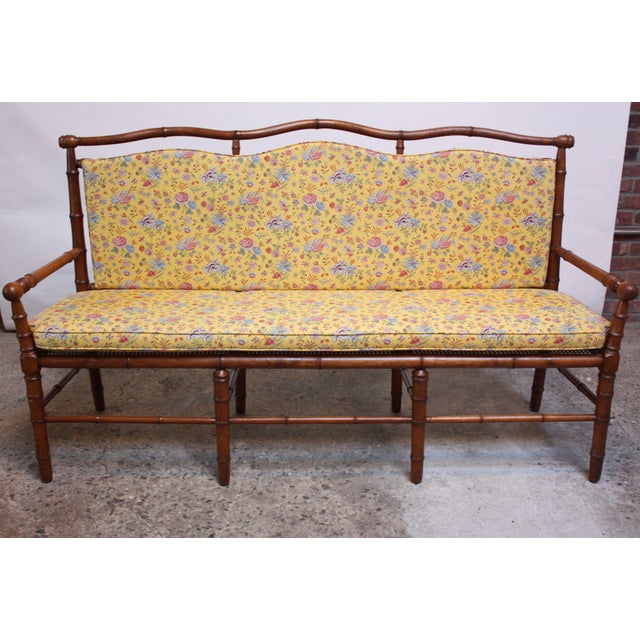 Mid-20th Century Faux-Bamboo Settee Bench in Cherrywood For Sale - Image 4 of 11