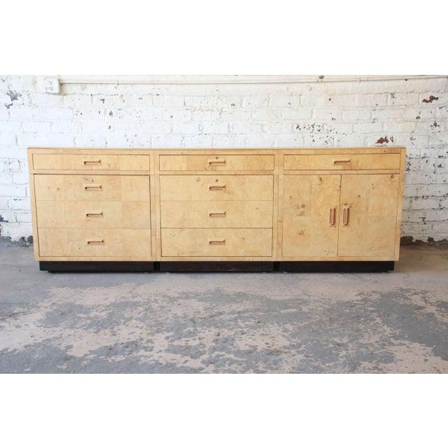 Burl Wood Long Credenza or Bar Cabinet by Henredon For Sale - Image 13 of 13