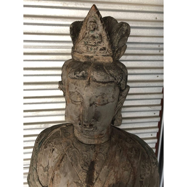 1950s Chinese Guan Yin Wooden Statue For Sale - Image 5 of 7