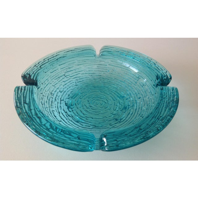 Anchor Hocking Vintage Teal Ashtray For Sale - Image 5 of 8