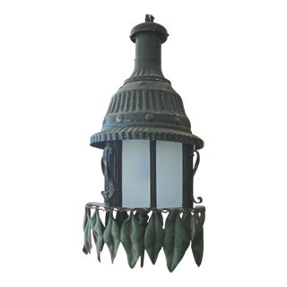 Vintage French Cast Iron Suspension Light With Painted Iron Leaves For Sale