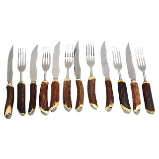 Mid-Century Stag-Horn Steak Set, 12Pcs For Sale