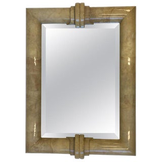 Goatskin Bevel Mirror by Karl Springer For Sale