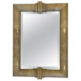 Goatskin Bevel Mirror by Karl Springer For Sale