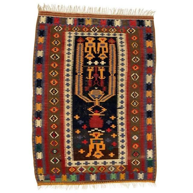 "Anatolian Hand Woven Kilim Rug - 4'6"" X 6'4"" - Image 1 of 2"