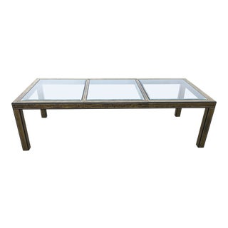 Bernhard Rhône for Mastercraft Acid Etched Brass Table For Sale