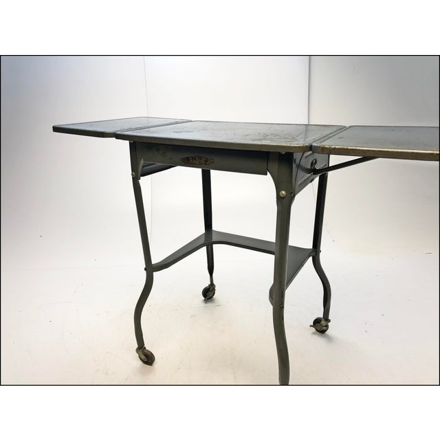 Sears Vintage Industrial Gray Metal Typewriter Table with Double Drop Leaf For Sale - Image 4 of 13