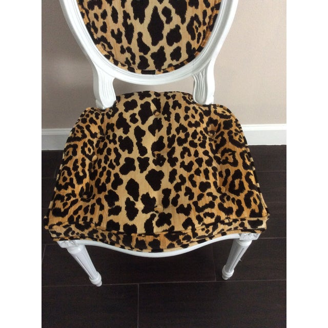 1970s Leopard Fabric Louis XVI Round Back Side Chair For Sale - Image 5 of 7