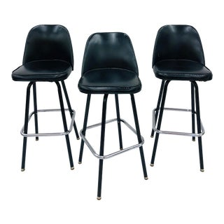 Set of Vintage Mid Century Bar Stools For Sale