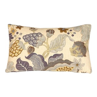 Pillow Decor Harvest Floral Blue 12x20 Pillow For Sale