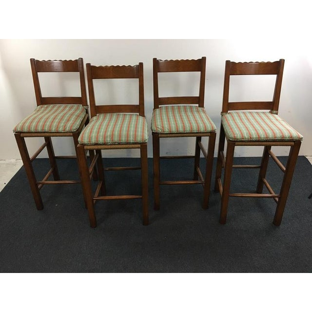 Carved Wood Rush Seat Bar Stools - Set of 4 - Image 2 of 5
