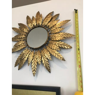 1950's Vintage Mid-Century Small Gold Sunburst Wall Mirror Preview