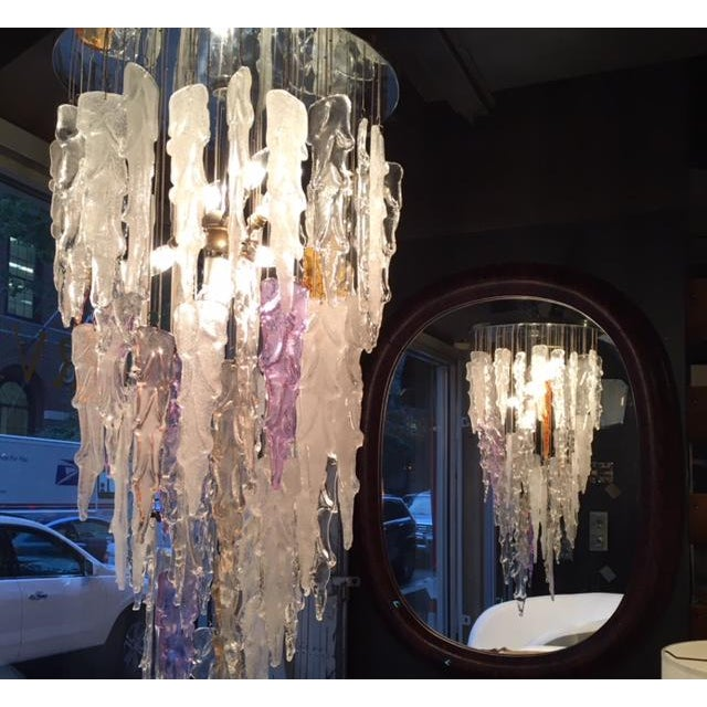 Silver Outstanding Mid Century Modern Murano Icicle Chandelier by Mazzega For Sale - Image 8 of 11