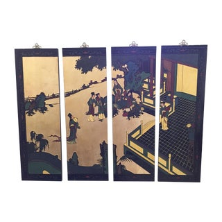 Asian Lacquered Decorative Panels - Set of 4 For Sale