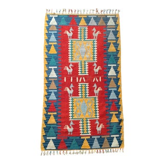 Turkish Handmade Wool Kilim Rug - 2′6″ × 4′5″ For Sale