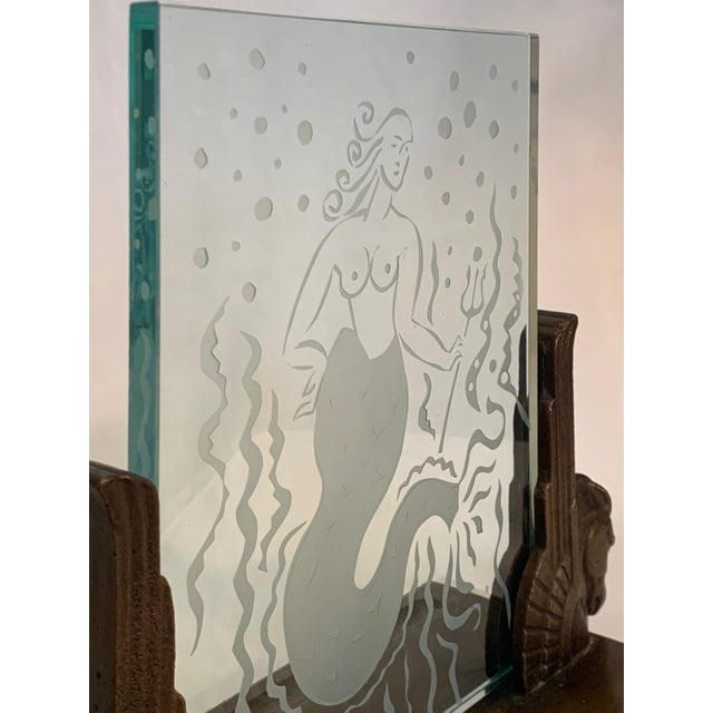 1920s Art Deco Glass Panel on Bronze Base For Sale - Image 12 of 13