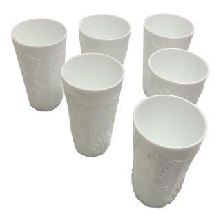 Vintage Colony Harvest Design Milk Glass Drink Tumblers - Set of 6 For Sale
