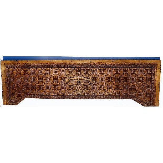 Early 20th-century Frieze. Artis carved and burnished in stylized Victorian basket weave pattern with elements of...