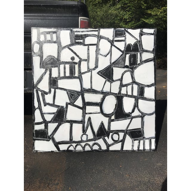 """Contemporary Sarah Trundle, Contemporary Abstract Black and White Painting, """"Much Ado"""" For Sale - Image 3 of 8"""