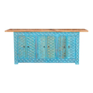 Tetuoan Blue Carved Sideboard For Sale