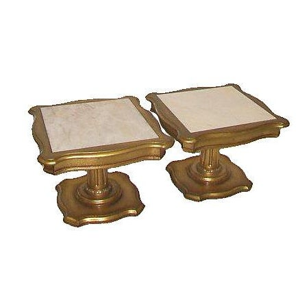 Hollywood Regency Marble Top End Tables - Pair - Image 1 of 3