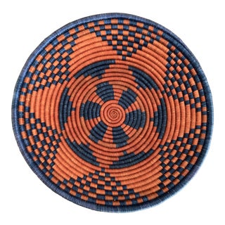 "Navy Blue and Deep Red African Geometric Fair Trade 14"" Tribal Basket For Sale"