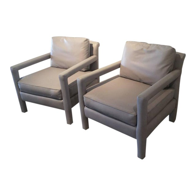 Vintage Milo Baughman Style Parsons Grey Leather Arm Chairs - A Pair - Image 12 of 12