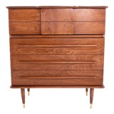 Image of Mid Century United Walnut and Brass 4 Drawer Highboy Dresser For Sale