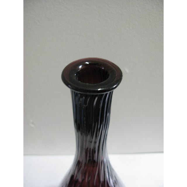 Mid Century Aubergine Glass Vase For Sale - Image 4 of 8