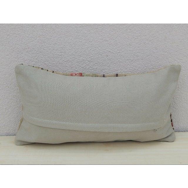 Turkish Lumbar Aubusson Kilim Pillow For Sale - Image 4 of 5