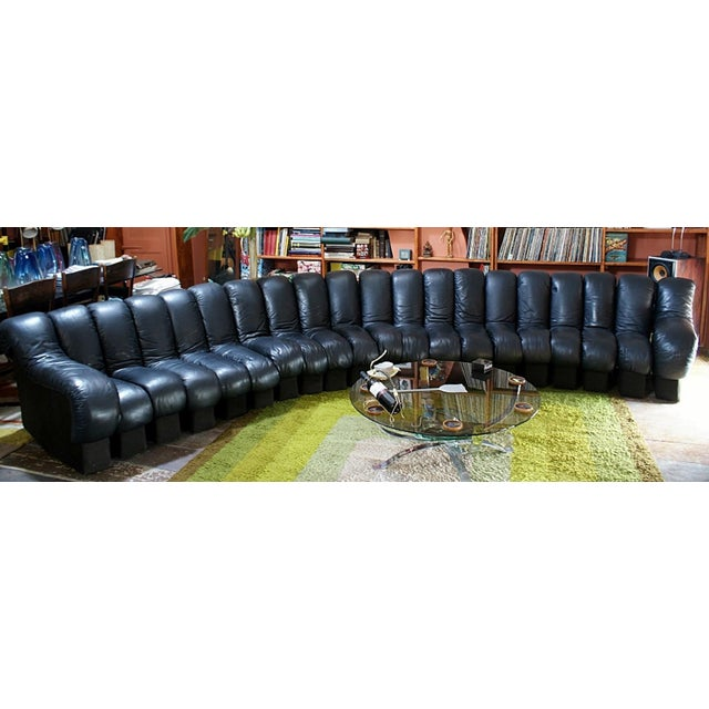 Mid-Century Modern De Sede Endless Non-Stop Ds 600 Black Sofa- 20 Sections For Sale - Image 3 of 4