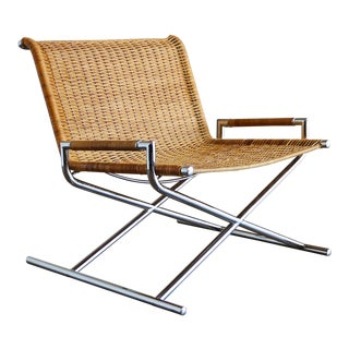 "1966 Vintage Cane & Chrome Plated Steel "" Sled "" Chair"